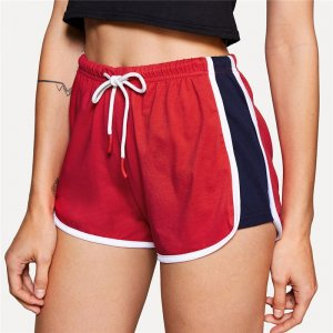 Contrast Binding Color Block Summer Drawstring Shorts