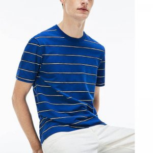Mens Crew Neck Striped Print Cotton Short T-Shirt