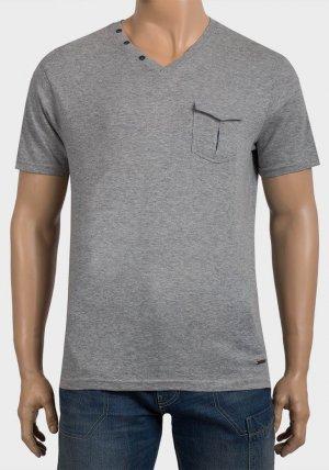 Mens Flap Chest Pocket V-Neck T-Shirt