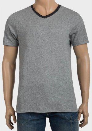 Mens Raw Edge Contrast V-Neck T-Shirt